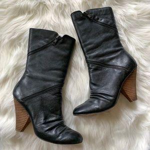 "Baker's Genuine Leather Black ""Zippy"" Heeled Boots"
